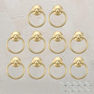 FarBoat 10Pcs Ring Pulls Handles Cabinet Ring Knobs Metal for Dresser Drawer Cupboard Antique Upholstery with Screws (Gold, 45mm/1.8inch OD)