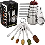 Measuring Cups and Spoons Set Includes 6 Measuring Spoons and 7 Measuring Cups in 18/8 Stainless Steel by Elated Home