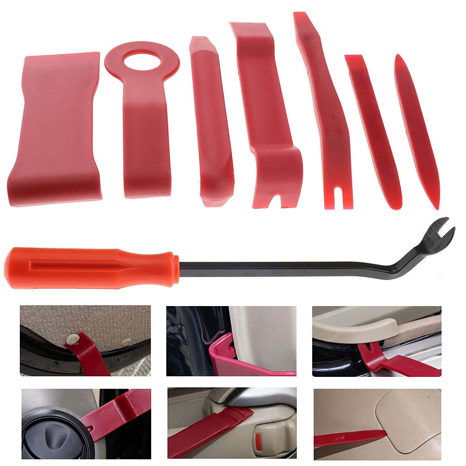 Micro Trader Trim Removal Tool 8 Pack Car Auto Door Panel Remove Tool Kit Strong Nylon Pry Tools