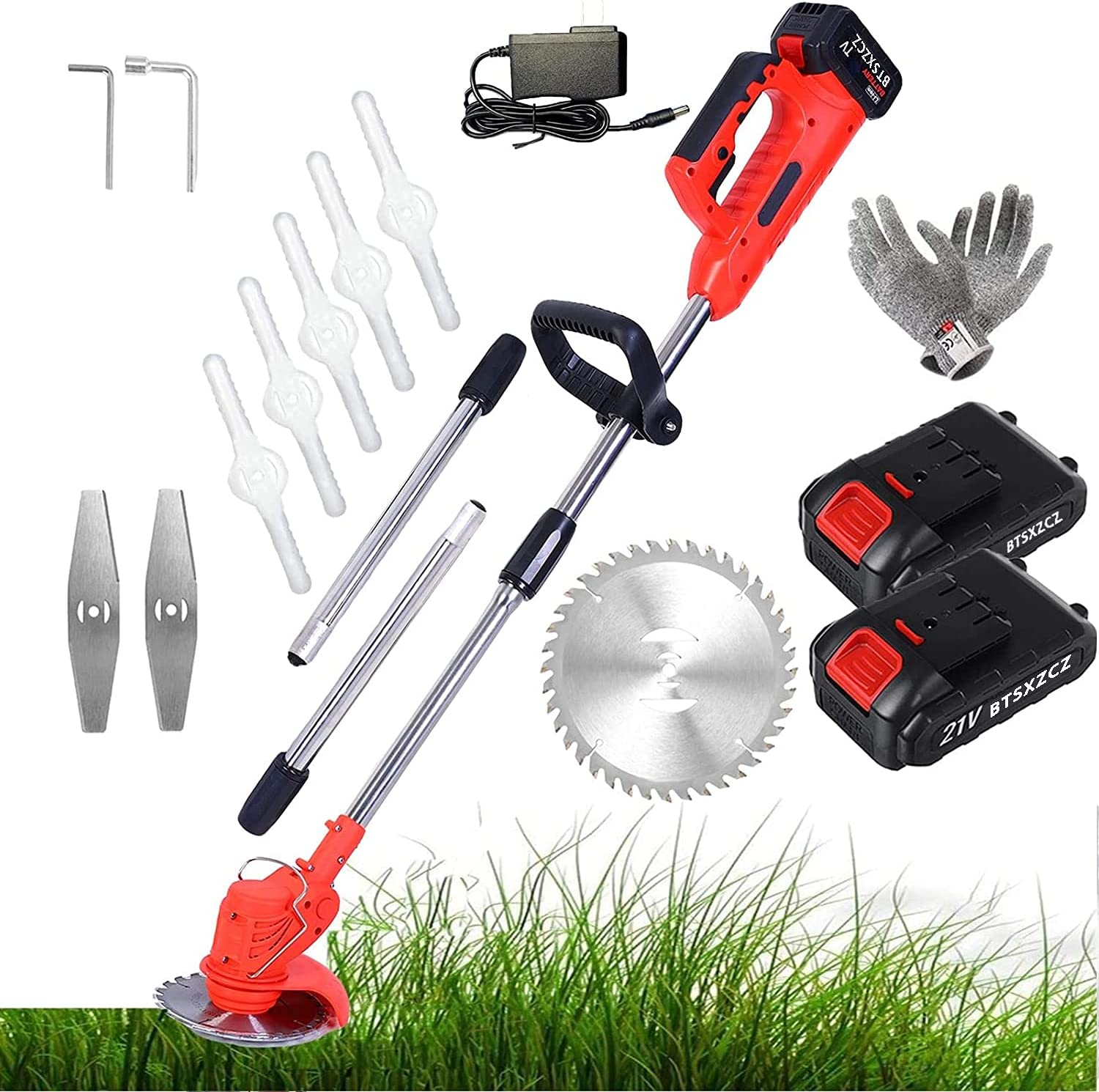 TIANMIAOTIAN Lawn Grass Cutting Machine Lengthen 90-160cm Stringless TrimmerElectricRemovable Cordless Grass Trimmers 21V Battery Powered8 Blades Garden Lawn Edger Trimmer36tv