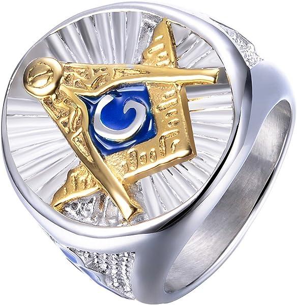906c74cc4a40cd Rinspyre Men s Stainless Steel Blue Lodge Compass Ruler Freemason Symbol  Masonic Rings Master Mason Band Size