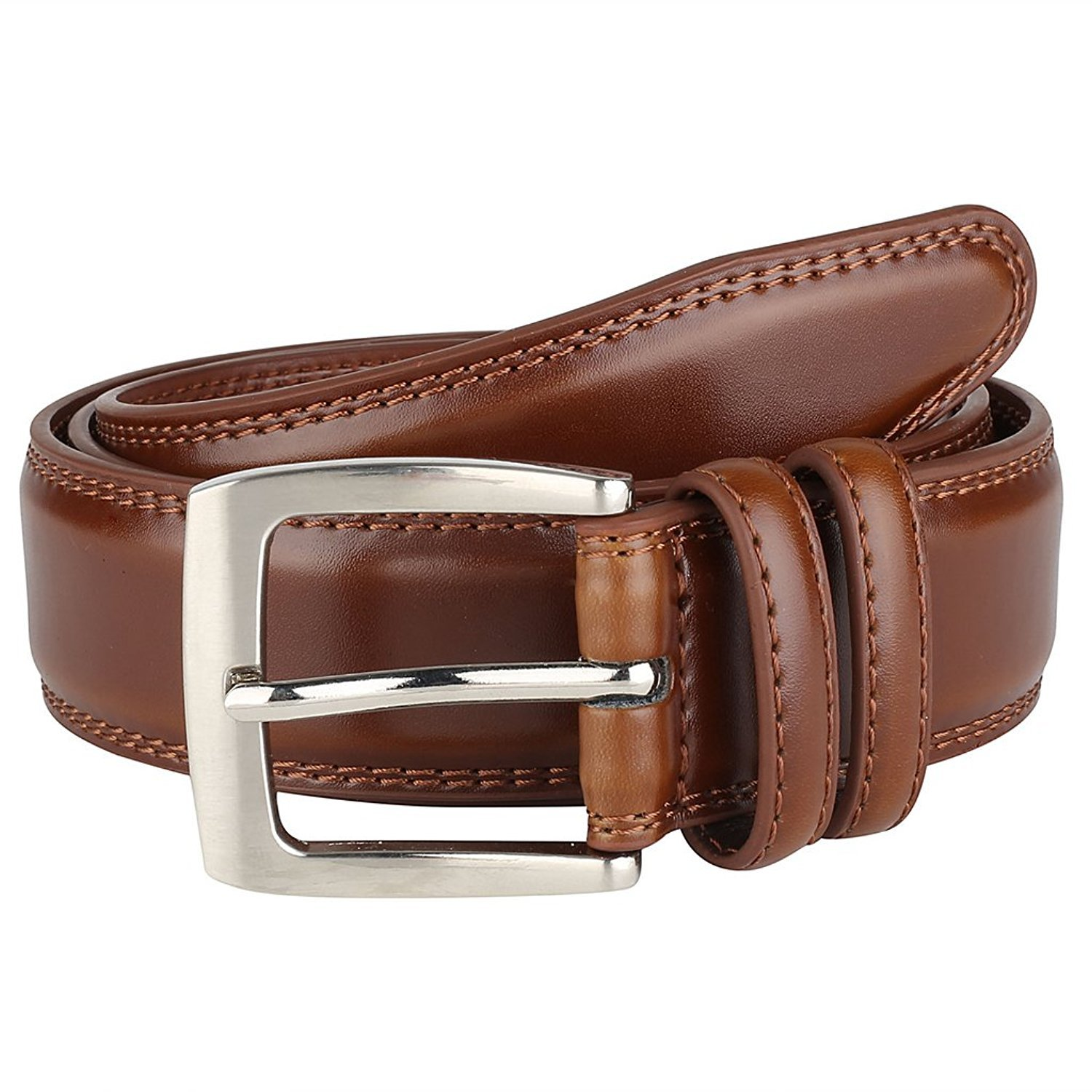 Men's Dress Belt ALL Genuine Leather Black Tan Cognac Brown 35mm All Sizes