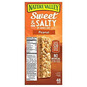 Nature's Valley Sweet and Salty Granola Bars Peanut dipped in Peanut Butter Coating, 36 Count, Pack of 1