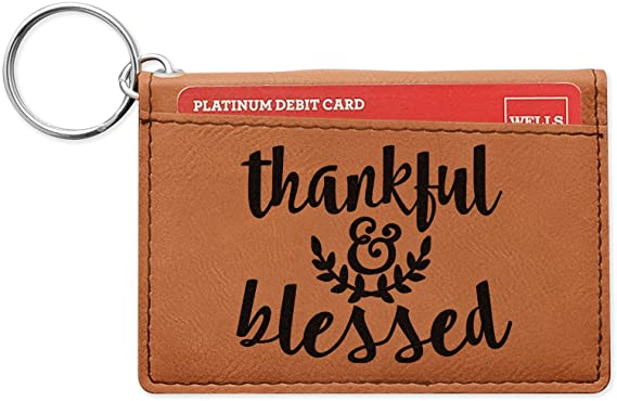 Thanksgiving Quotes And Sayings Leatherette Keychain Id Holder Double Sided Personalized