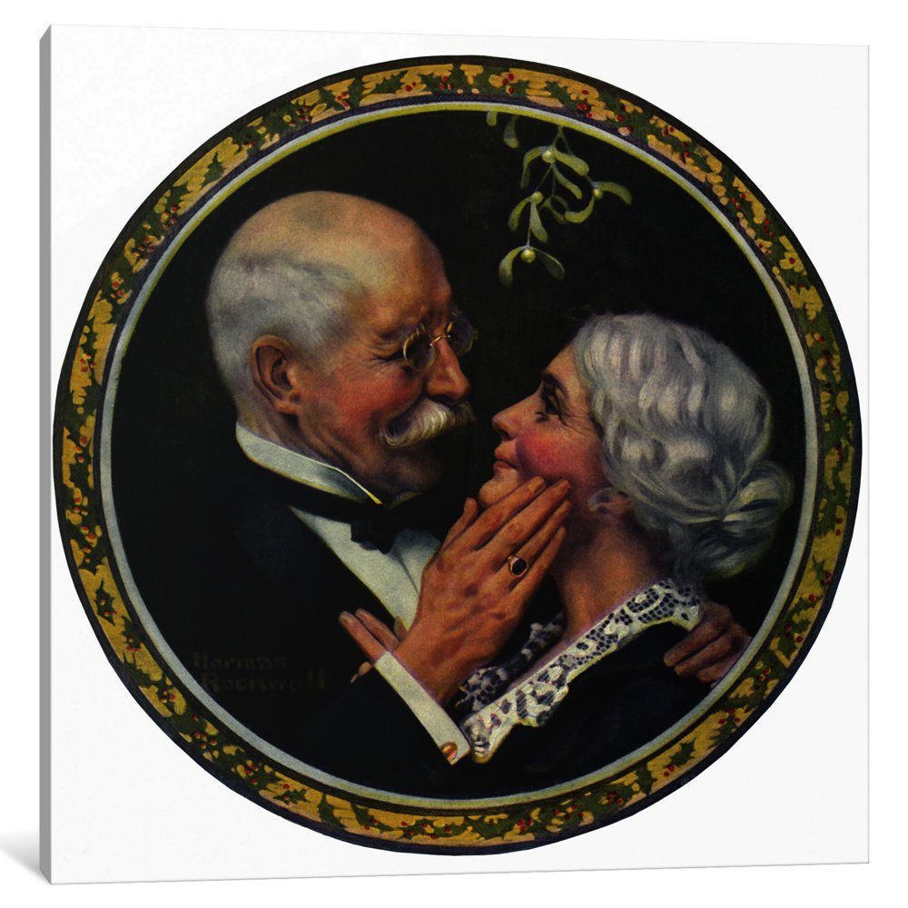 1.5 by 18 by 18-Inch iCanvasART 1 Piece Under The Mistletoe Canvas Print by Norman Rockwell
