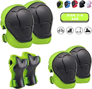 Knee Pads for Kids Kneepads and Elbow Pads Toddler Protective Gear Set Kids Elbow Pads and Knee Pads for Girls Boys with Wrist Guards 3 in 1 for Skating Cycling Bike Rollerblading Scooter [Upgraded]