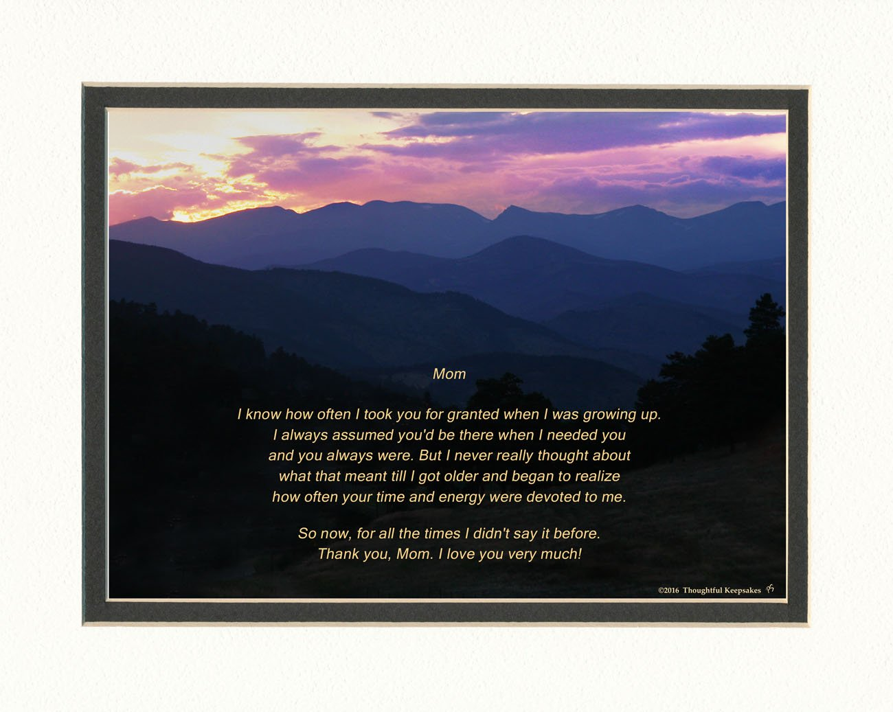 Mom Gift with ''Thank You Mom'' Poem. Mt Sunset Photo, 8x10 Double Matted. Special Mother Gift for Mother's Day, Christmas, Birthday or Appreciation Gift for Mom.