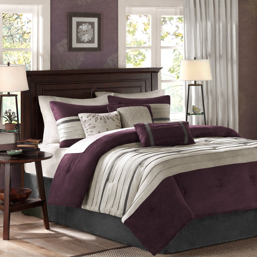 Queen Size Luxury Bedding Comforter Set in Simple Stripes Design, 7 Piece, Plum, Purple Beautiful Colors, Cute & Cozy