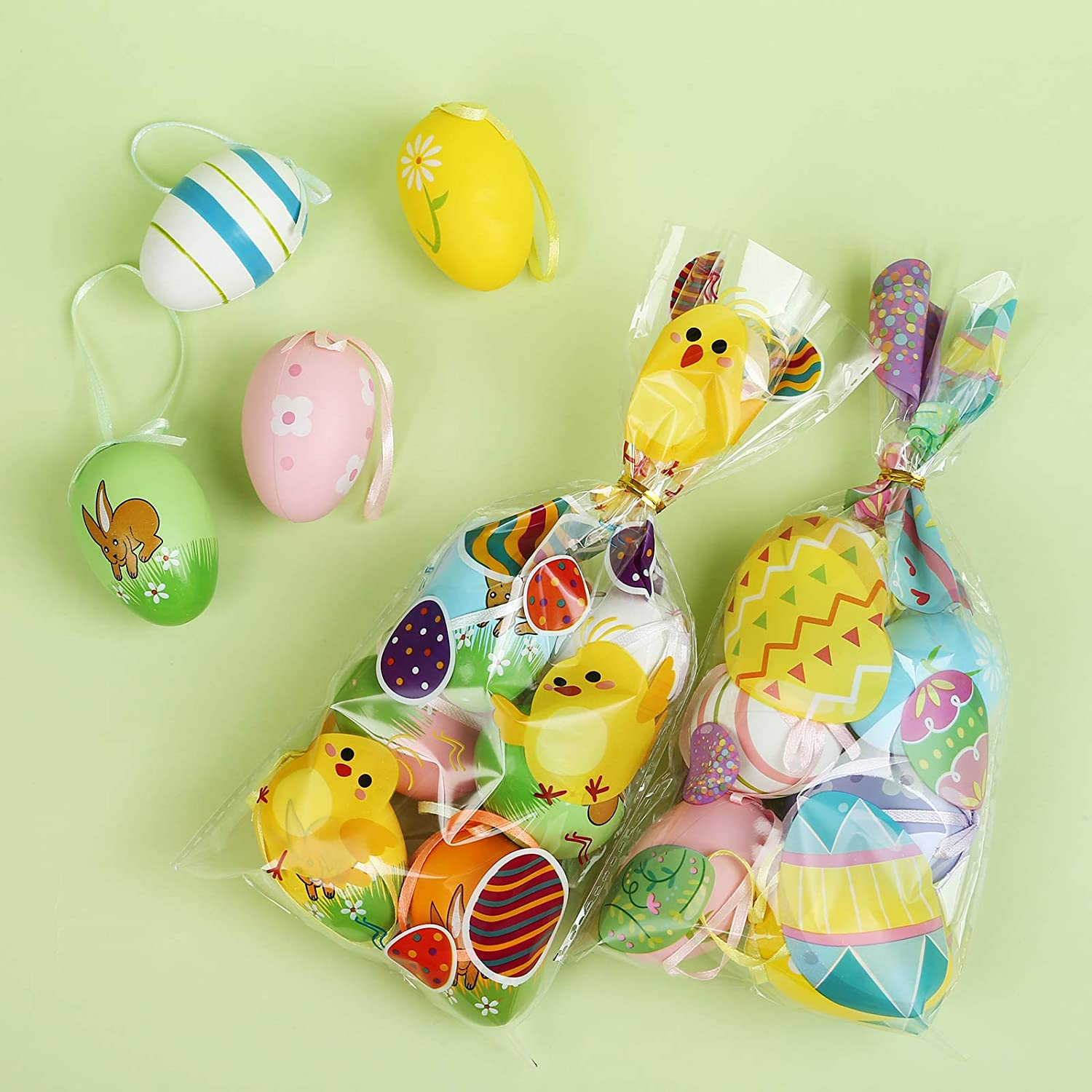 LIHAO 100 Pack Easter Treat Bags Cellophane Candy Bags Whit Twist Tie Cookie Bags for Easter Birthday Party Supplies