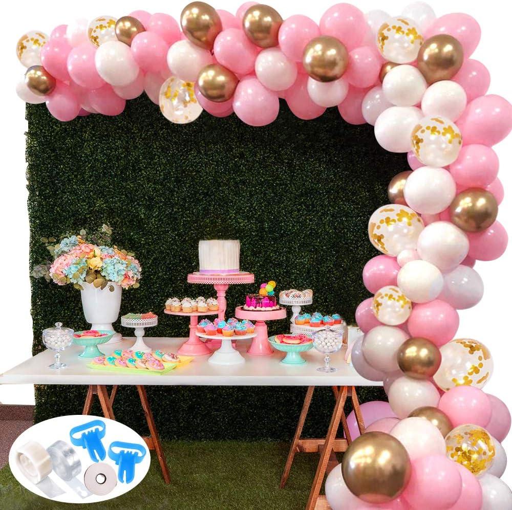 127Pcs Kit de guirnaldas con globos SPECOOL Kit de arcos de globos Rosa blanca y dorada Confeti Lleno de globos de látex Paquete con cinta de globos para cumpleaños Decoración de banquete de boda