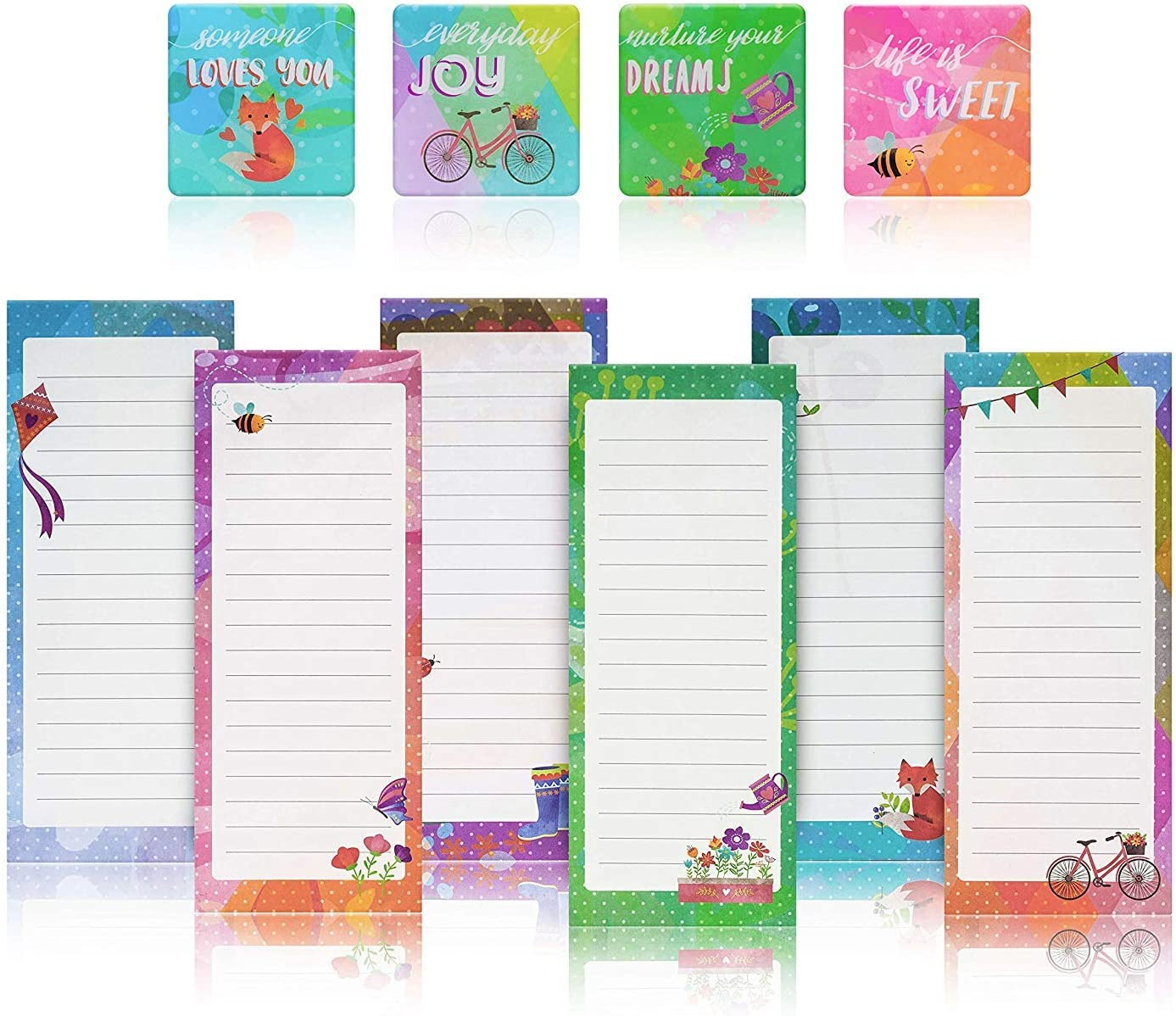 Charming Magnetic Notepads & Inspirational Refrigerator Magnets – To Do List, Grocery list, Perfect Housewarming Gifts, Thank You Gifts, Office Supplies – 6 Note Pads + 4 Fridge Magnets by PRTSupply