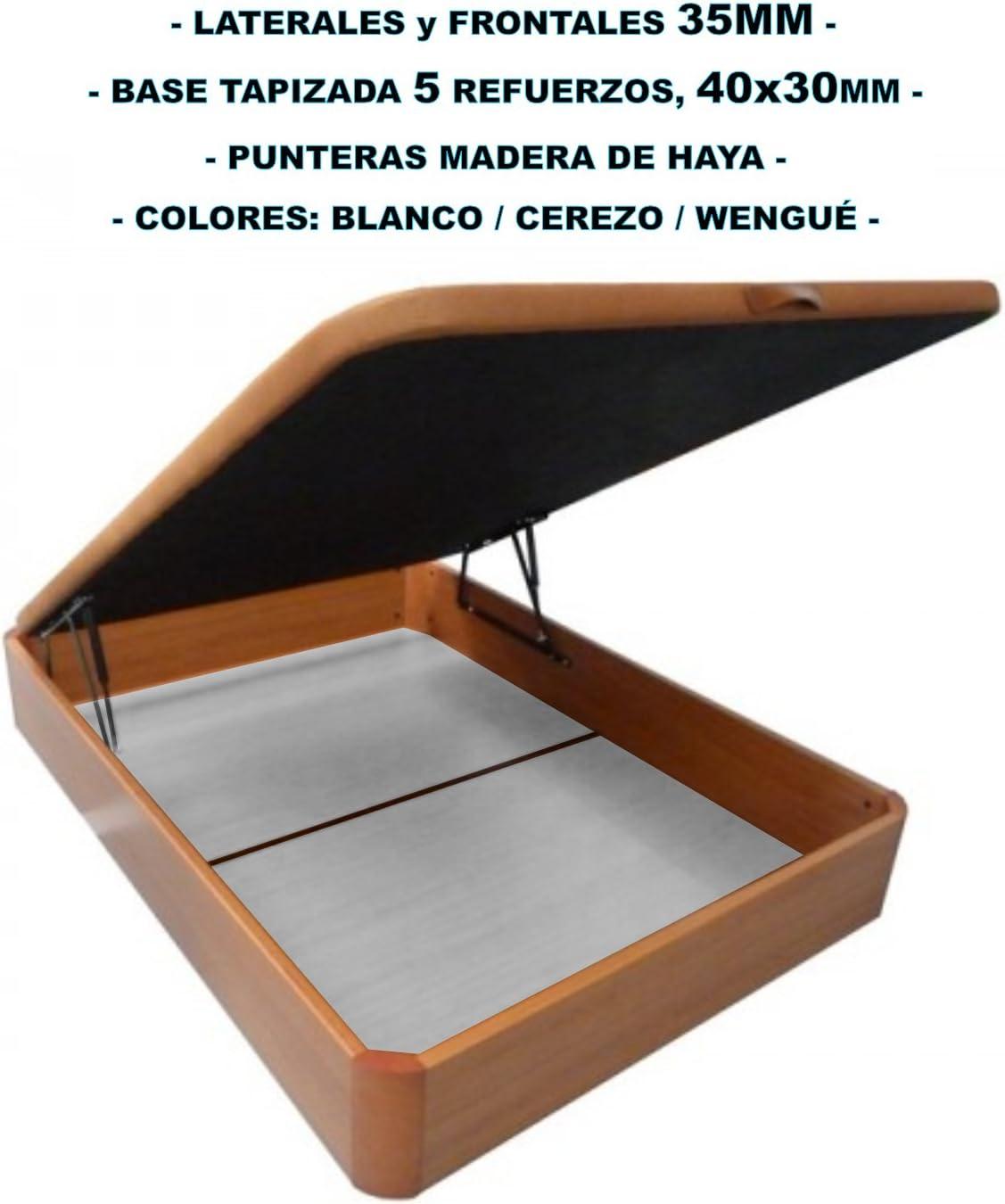 Canapé de madera con BASE TAPIZADA, laterales de 35 MM, punteras de MADERA DE HAYA, gran capacidad, medida 150x190CM, color cerezo.