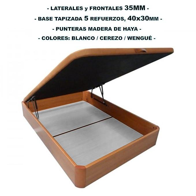 Canapé de madera con BASE TAPIZADA, laterales de 35 MM, punteras de MADERA DE HAYA, gran capacidad, medida 150x190CM, color cerezo.: Amazon.es: Hogar