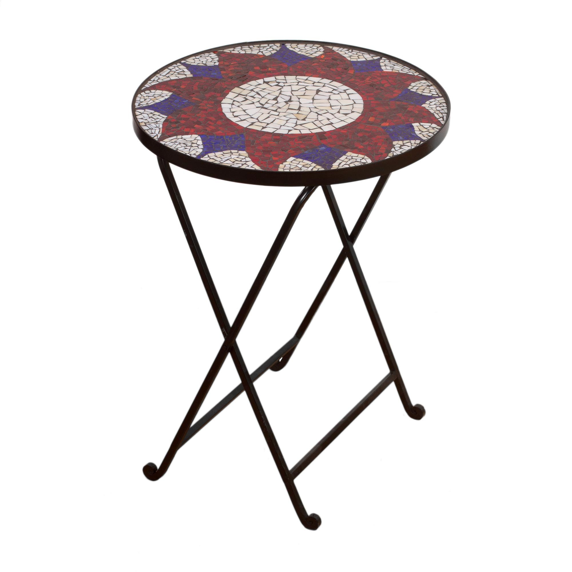 NOVICA Glass Steel Mosaic Accent Tables, 25.5'' Tall, Multicolor, 'Evening Sunflower'