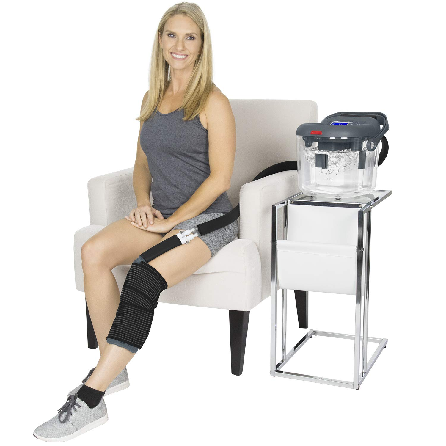 Vive Cold Therapy Machine - Large Ice Cryo Cuff - Flexible Cryotherapy Freeze Kit System Fits Knee, Shoulder, Ankle, Cervical, Back, Leg, Hip and ACL - Wearable Adjustable Wrap Pad - Cooler Pump by Vive