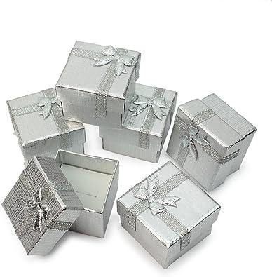 24 X Caja Cartón Estuche con Cinta Lazo Accesorio para Guardar Joyas Regalo: Amazon.es: Joyería