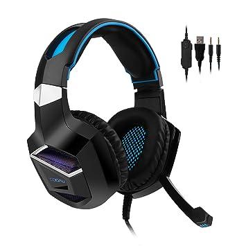COOAU auriculares de juego, Over-ear auriculares de juegos, cómodo aislamiento de ruido auricular USB iluminación con micrófono para PC PS4 ordenador ...