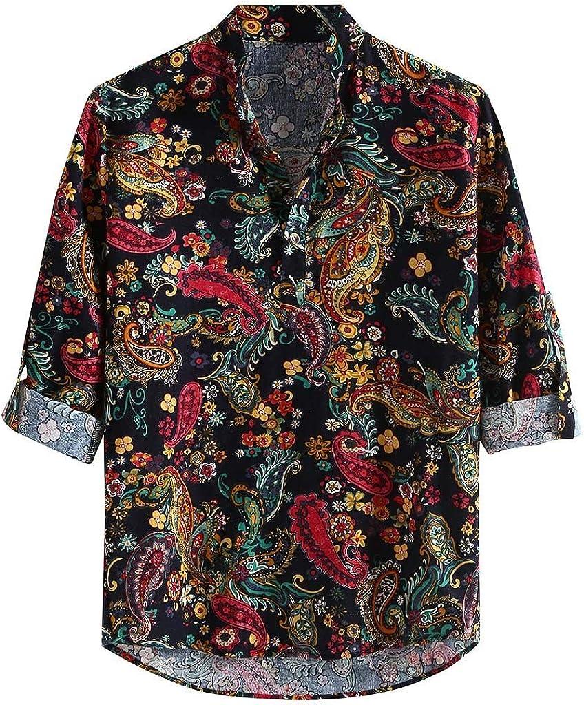 SoonerQuicker Camisas de Hombre Hombres Casual Estampada Vintage Slim Casual Camisa de Vestir de Manga Larga Blusa Tops T Shirt tee
