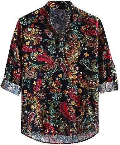 SoonerQuicker Camisas de Hombre Hombres Casual Estampada Vintage Slim Casual Camisa de Vestir de Manga Larga Blusa Tops T Shirt tee: Amazon.es: Ropa y accesorios