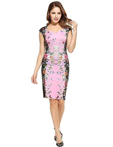 ANGVNS Women Vintage Styles V-Neck Cap Sleeve Prints Elastic Slim Tank Package Hip Dress