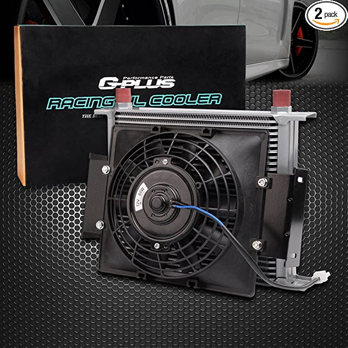 """Universal 15 Row 10AN Engine Transmission Oil Cooler 7/""""  Cooling Fan Kit"""