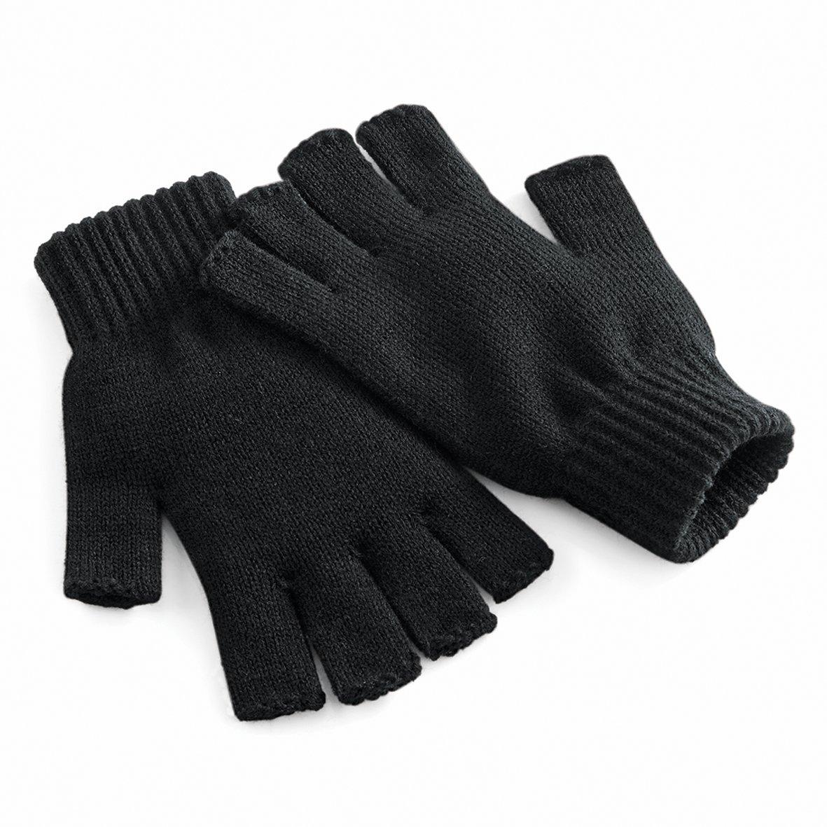 Beechfield Unisex Plain Basic Fingerless Winter Gloves (L/XL) (Black)