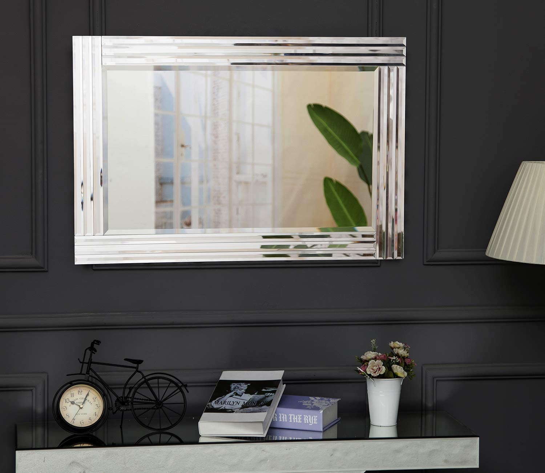 Argent/é Miroir pour Salon Chambre Couloir 60 x 90 cm RICHTOP Miroir Murale Grand Bois 3D Rectangulaire Design Morderne Miroirs Mural biseaut/és