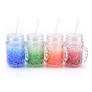 Freezer Mugs Mason Tumbler - 4-Pack 19oz Frosty Beer Mugs with Handle and Straw, Mason Jars Classic Style for Enjoying Juice, Soda, Lemonade, Water at the Parties and Outside Activities, Clear
