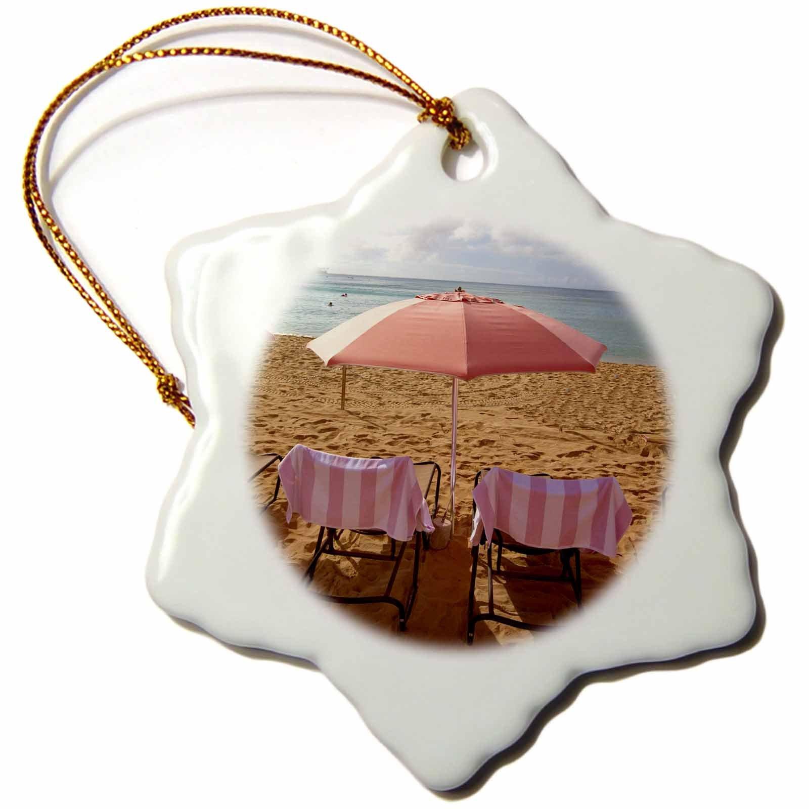 3dRose orn_89773_1 Royal Hawaiian Hotel, Waikiki Beach, Oahu, Hawaii-Us12 Dpb2065-Douglas Peebles-Snowflake Ornament, 3-Inch, Porcelain