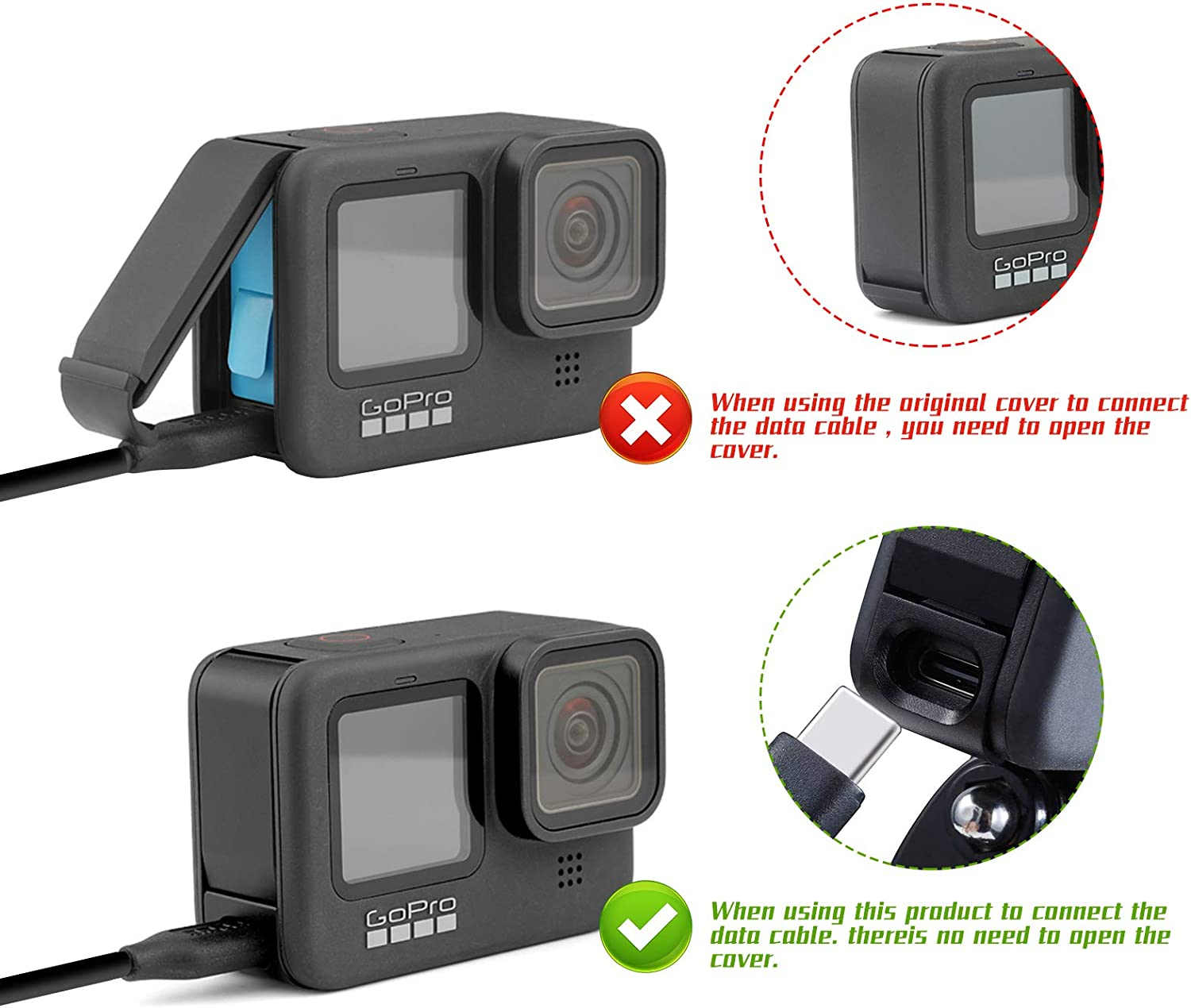 Battery Cover for GoPro Hero 9 Type-C Charging Port Adapter Side Cover Full Protection Side of The Camera Repair Part Camera Accessories JIPOWER