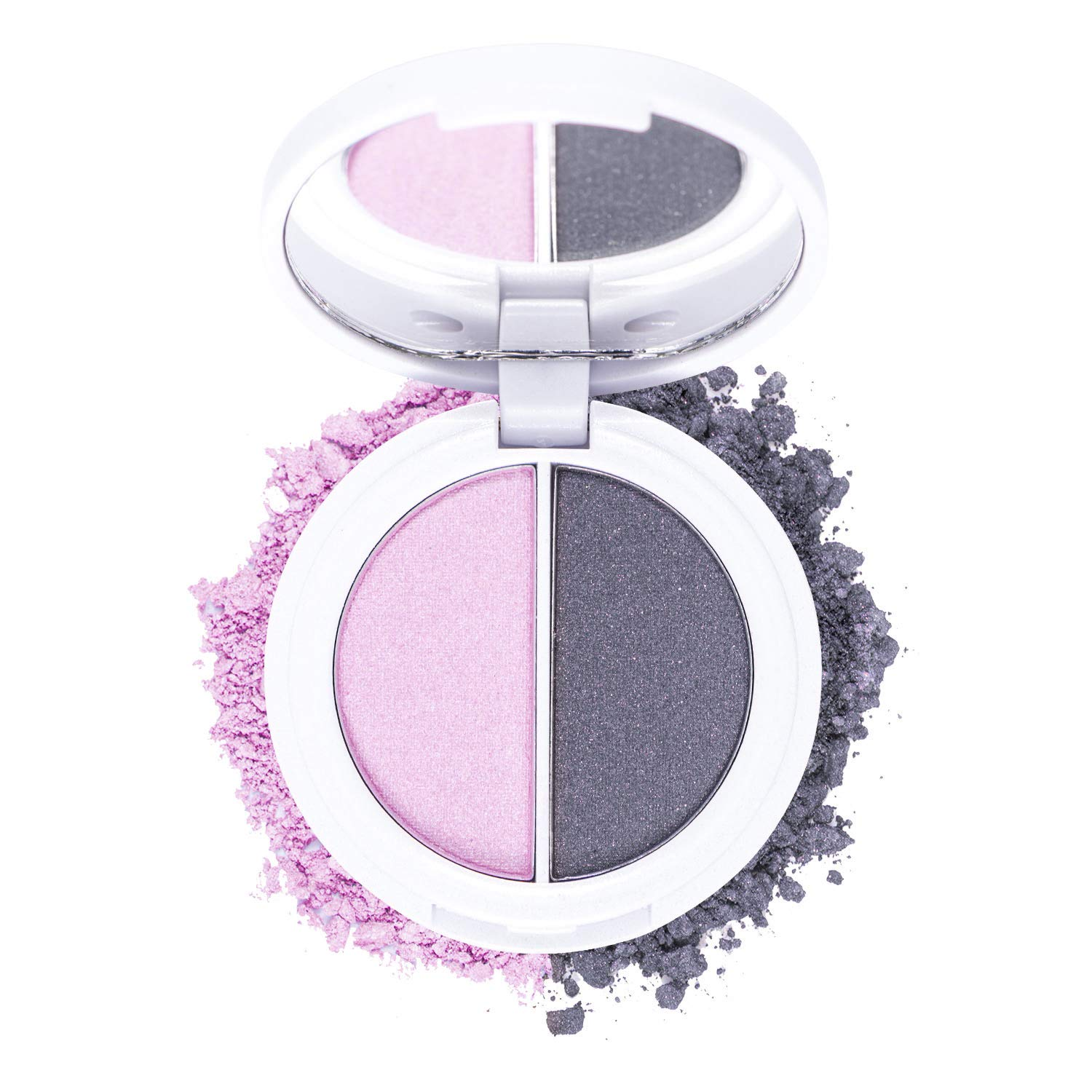 Omorose Cosmetics Eyeshadow Duo Womens Makeup Hypnotic Eyes Shimmer Pressed 2 Color Rich Bright Neutral Metallic Silky Smudge Proof Pigmented Pigment Blendable Eye Beauty Girl Eyeshadow, Come To Bed Pink & Gray