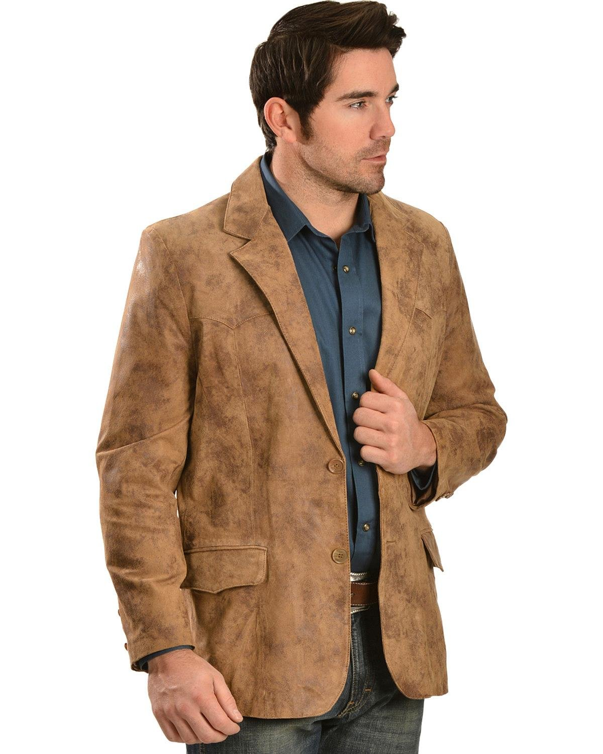Scully Men's Oakridge Western Leather Blazer Brown 46 R
