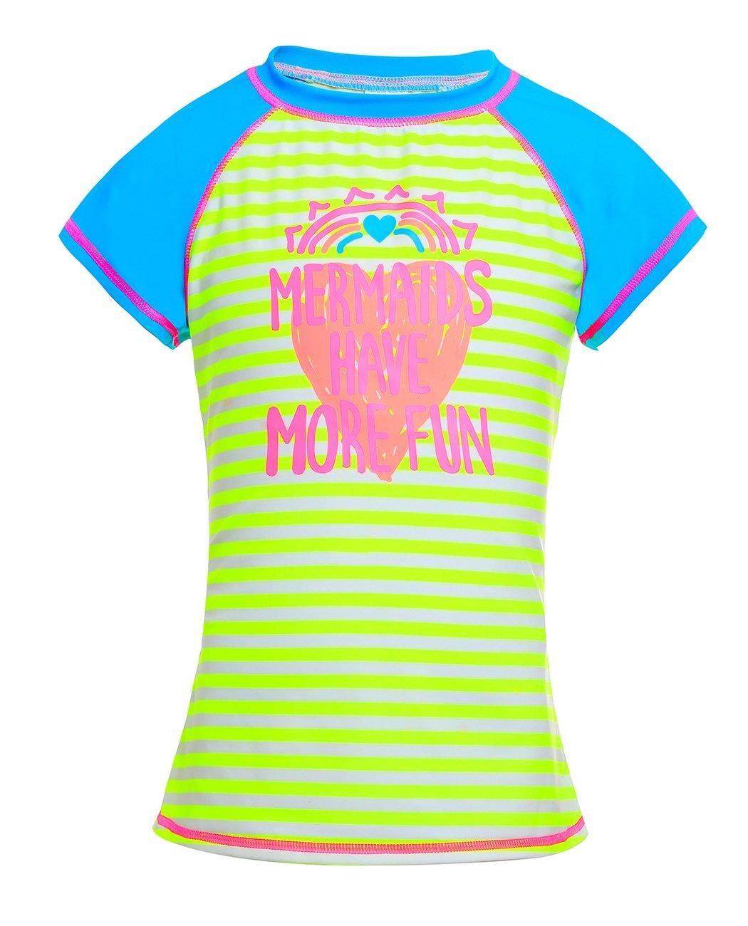 iDrawl Boys Girls Short Sleeve Rash Guards Stripe Printed Swim Tops UPF 50+ for Swimming Surfing