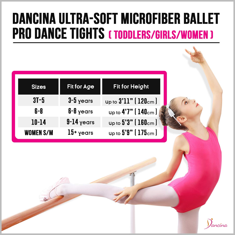 Dancina 3 Pairs Womens Girls Basic Convertible Transition Dance Tights Toddler//Girls//Women