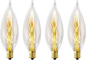 Globe Electric 1327 25W Vintage Edison CA10 Flame Tip Incandescent Filament Light Bulb, 4 Pack, E12 Base, 01327, 4 Count