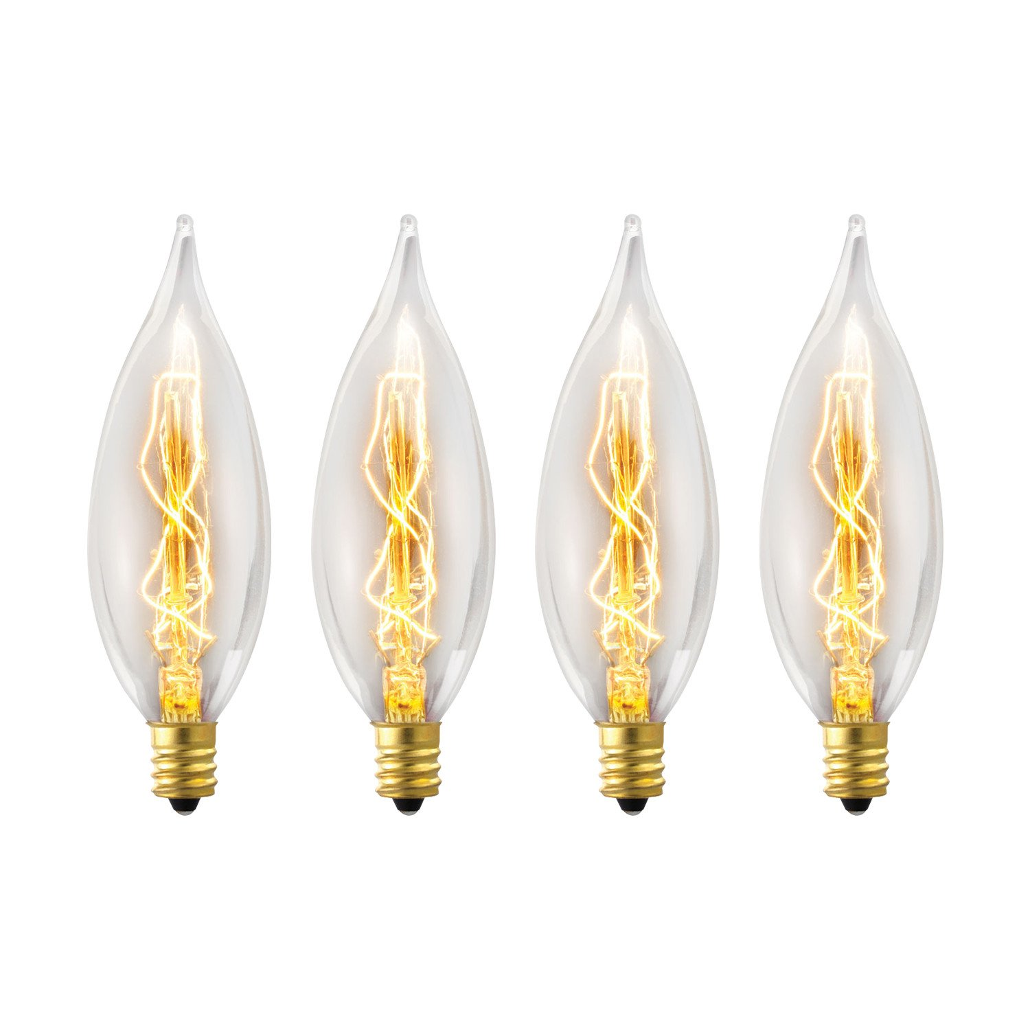 Globe Electric 25W Vintage Edison CA10 Flame Tip Incandescent Filament Light Bulb 4-Pack, E12 Base, 105 Lumens, 01327 by Globe Electric