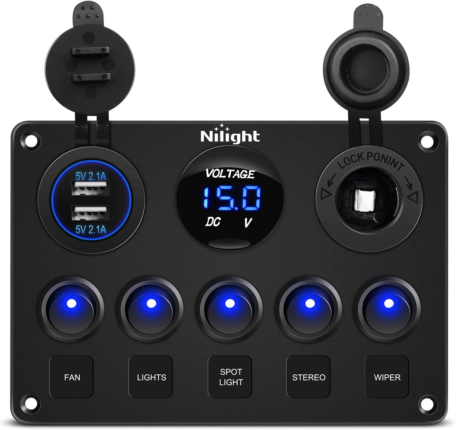 Nilight 90101E 5Gang Multi-Function 5 Gang Rocker Dual USB Charger + Digital Volmeter +12V Outlet Pre-Wired Switch Panel with Circuit Breakers for RV Car Boat Truck Trailer,2 Years Warranty: Automotive