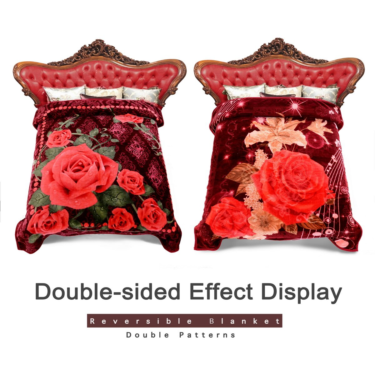 Jml Plush Fleece Blankets Queen Size 77'' x 87'', Heavy Blankets (520g/sm), Soft Warm, Korean Style, 2 Ply, 2 Sides Printed Raschel Bed Blanket, Red Rose