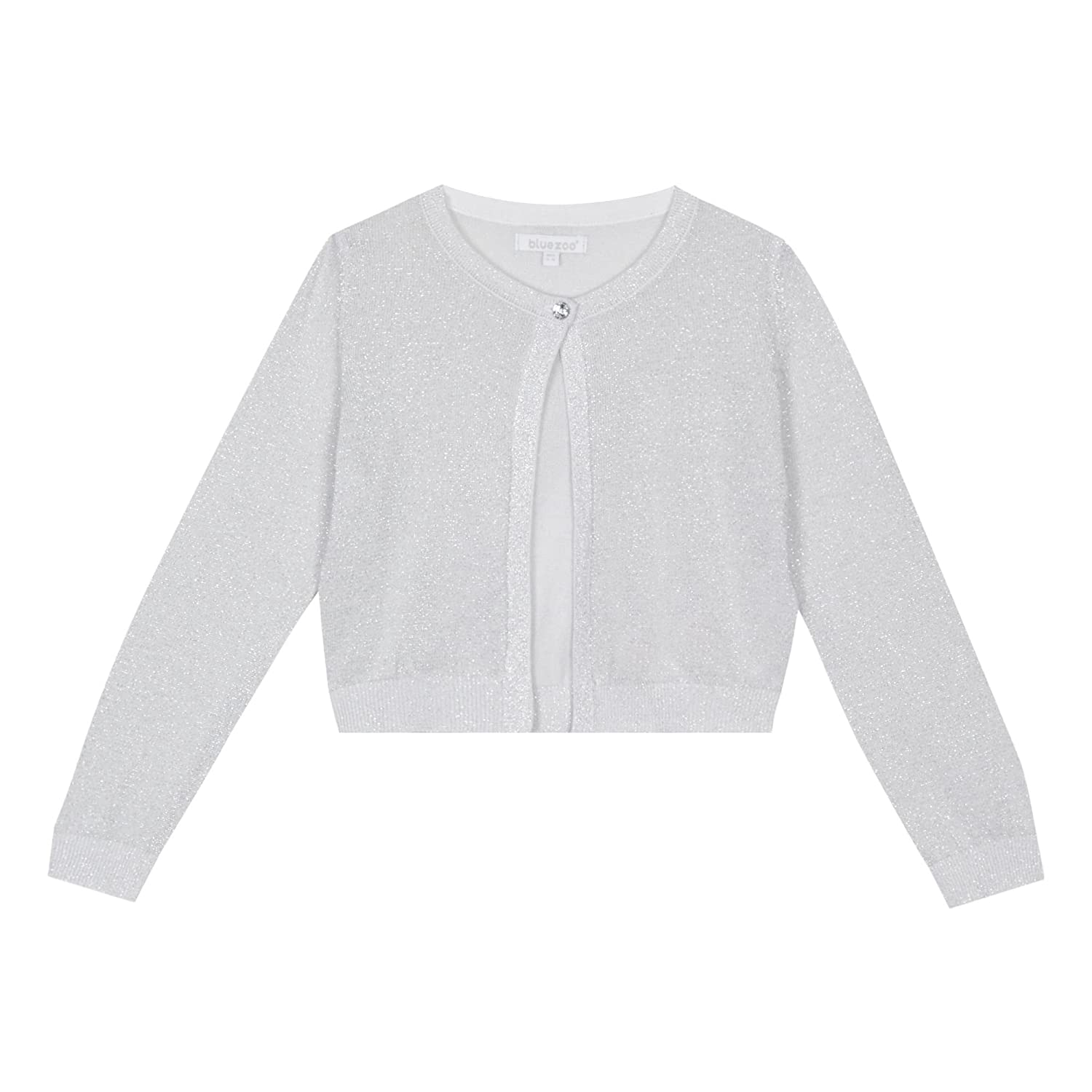 bluezoo Kids 'Girls' Silver Glitter Long Sleeve Cardigan