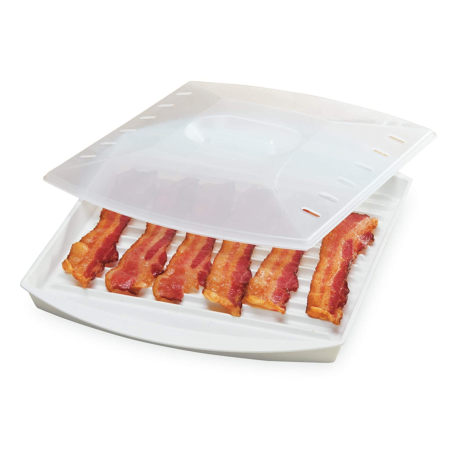 "Prep Solutions by Progressive Microwave Large Bacon Grill with Vented Cover, 4-6 Strips of Bacon, Cook Frozen Snacks, Measures 12""L x 10""W x 2.25""H"