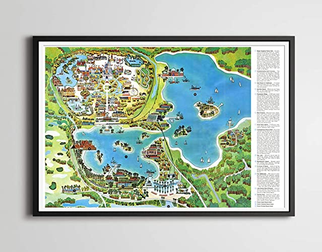 Amazon.com: Vintage 1971 DISNEY WORLD RESORT Map Poster! (up to full ...