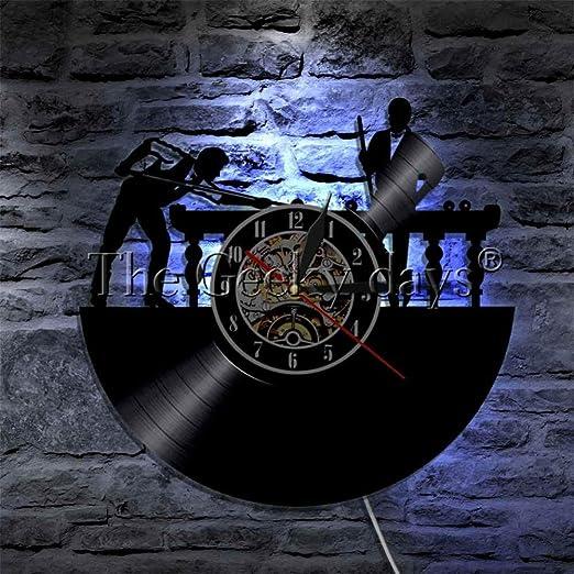 AGlitw 1 Pieza Billar Reloj de Pared con Registro de Vinilo 3D ...