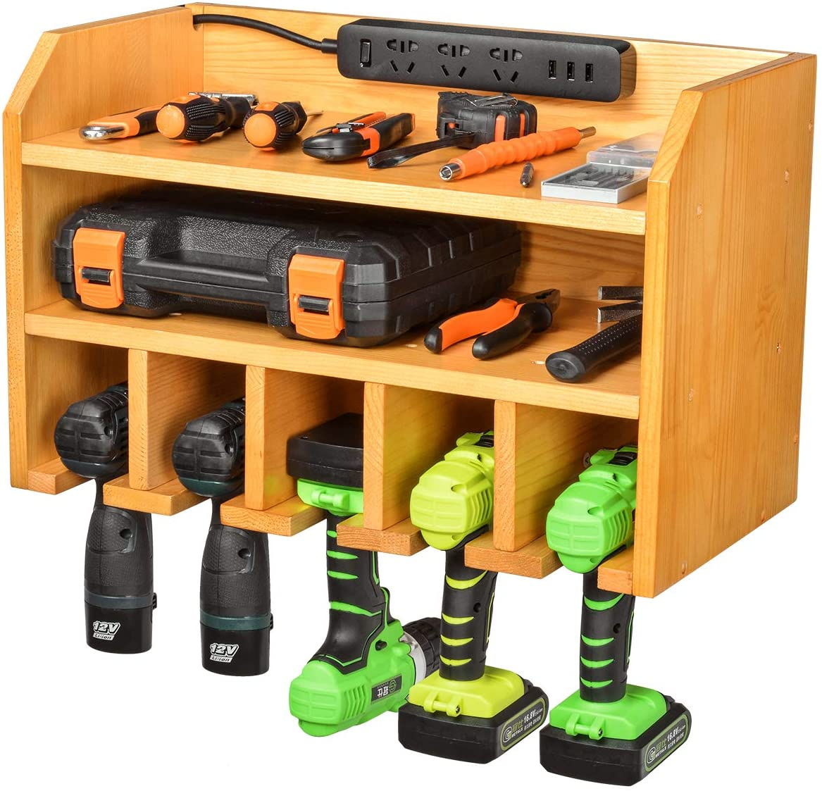 Drill Charging Station Drill Storage Wall Mounted Tool Storage Organizer Power Tool Storage - Power Drill Toolbox Screwdriver Cordless Drill Organizer - Tool, Parts Craft Organizer Wooden