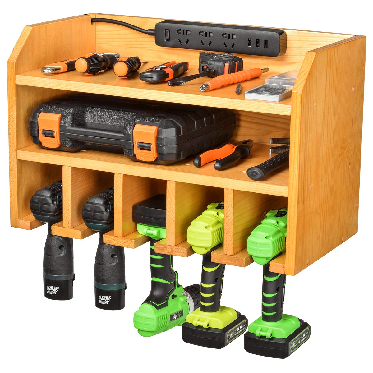 Drill Charging Station | Drill Storage | Wall Mounted Tool Storage Organizer | Power Tool Storage - Power Drill Toolbox Screwdriver Cordless Drill Organizer - Tool, Parts Craft Organizer Wooden by XCSOURCE