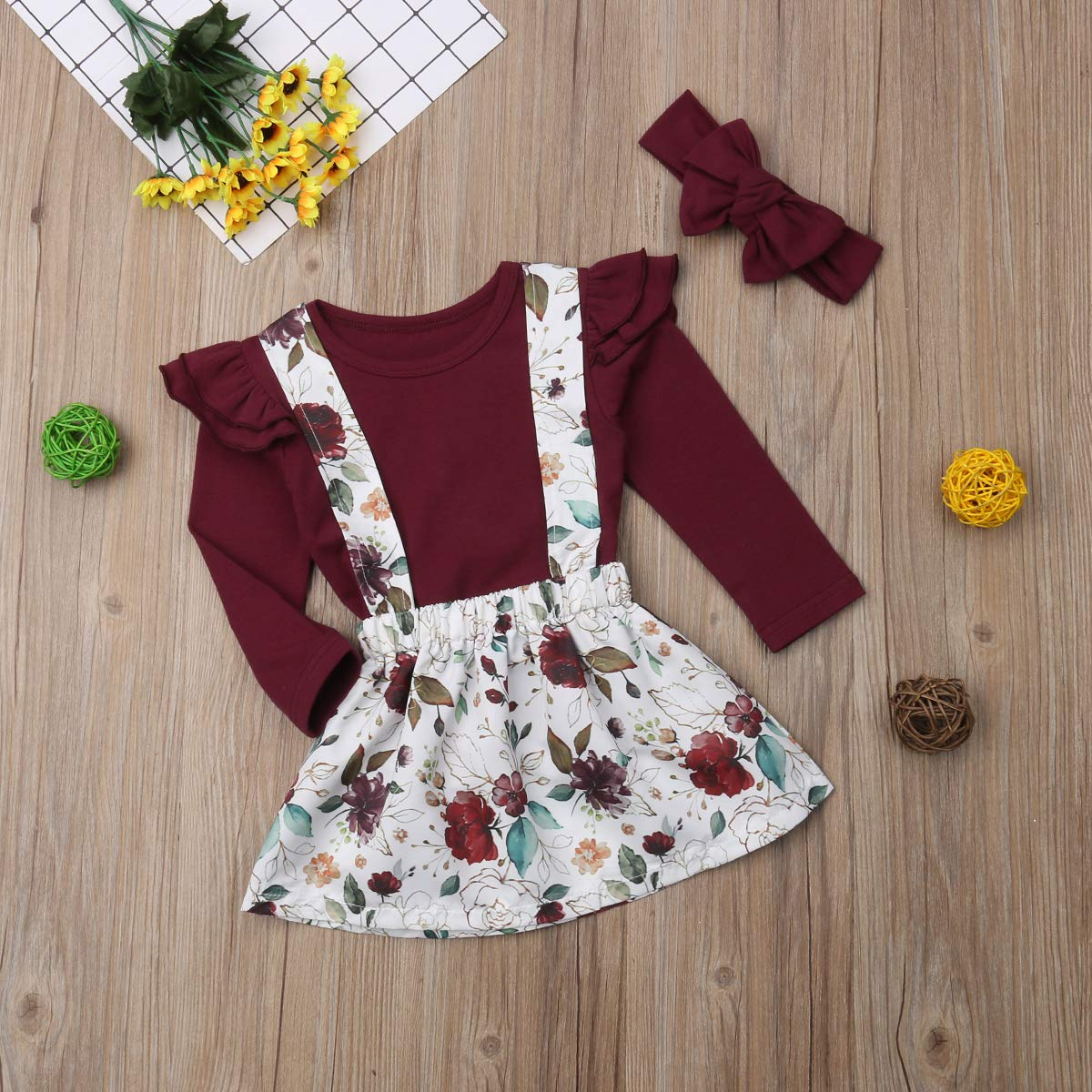 Toddler Kids Baby Girls Cute Solid Color T-shirt Top+Flower Party Tutu Princess Skirt Headband Outfits Set