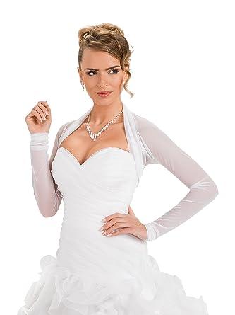 Amazon.com: OssaFashion-BridalWear Bridal Ivory White Tulle Bolero ...