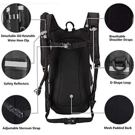 Amazon.com : SHARKMOUTH Hiking Hydration Backpack Pack with 2.5L BPA Free Water Bladder, Roomy and Comfortable for Long Day Hikes, Day Trips, Daypack Travel ...