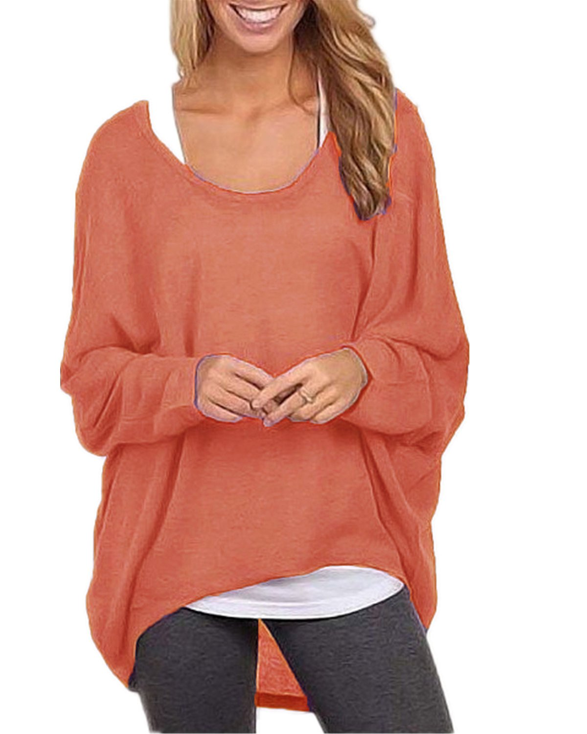 ZANZEA Women's Long Batwing Sleeve Loose Oversize Pullover Sweater Top Blouse Orange US 8/Tag Size M