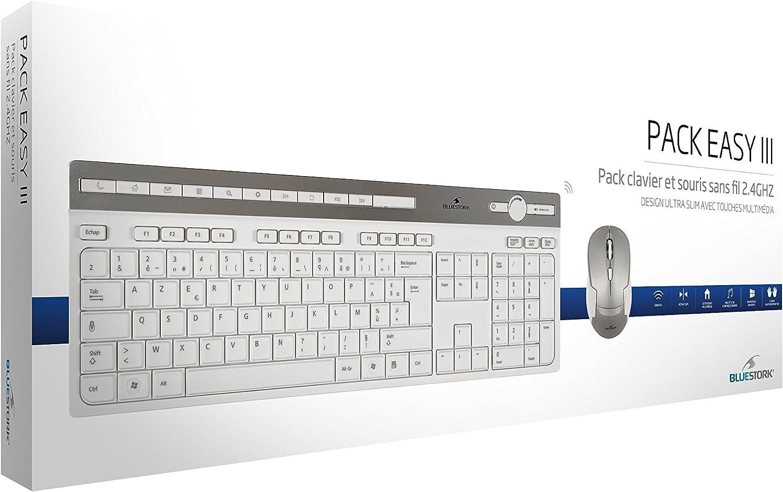 Sans fil  2,4 Ghz Touches multim/édia Souris Ambidextre Bluestork Pack Clavier et Souris Sans Fil Azerty Francais Ultra slim avec Touches Silencieuses