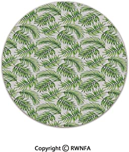 Home Decor Printed Beautiful Backing Machine Washable Carpet,Exotic Pattern with Tropical Leaves in Watercolor Art Style Jungle Luau Hawaii Decorative 2' Diameter Fern Green,Fluffy Area Rugs